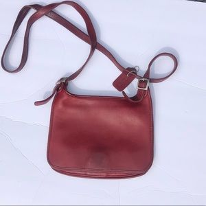 Coach Hippie Flap #9132 Red Leather Cross Body Bag